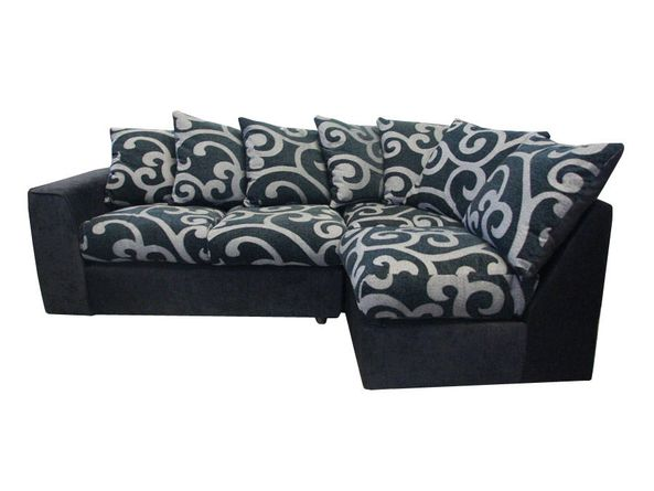 Samantha Black and Grey Right Hand Corner Sofa