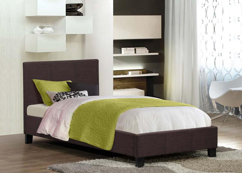 Birlea Berlin 3ft Single Fabric Bed Frame in Chocolate