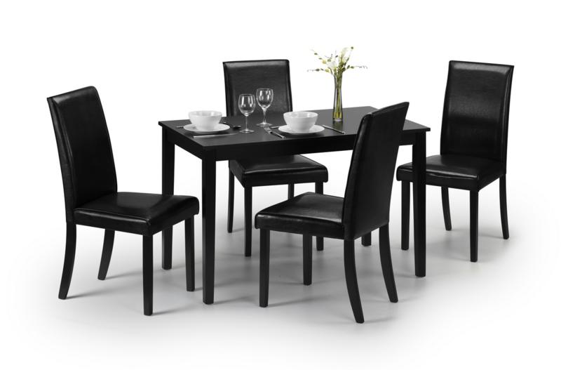 JULIAN BOWEN HUDSON TABLE DINING TABLE AND 4 CHAIRS IN BLACK