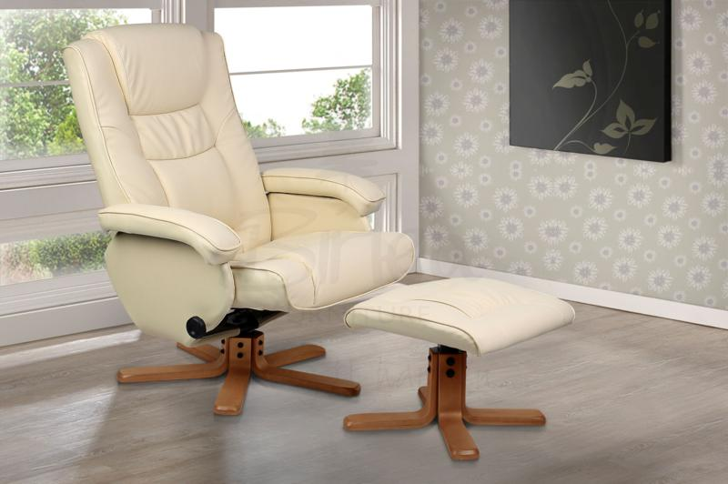 Nevada Cream Faux Leather Swivel Chair and Stool